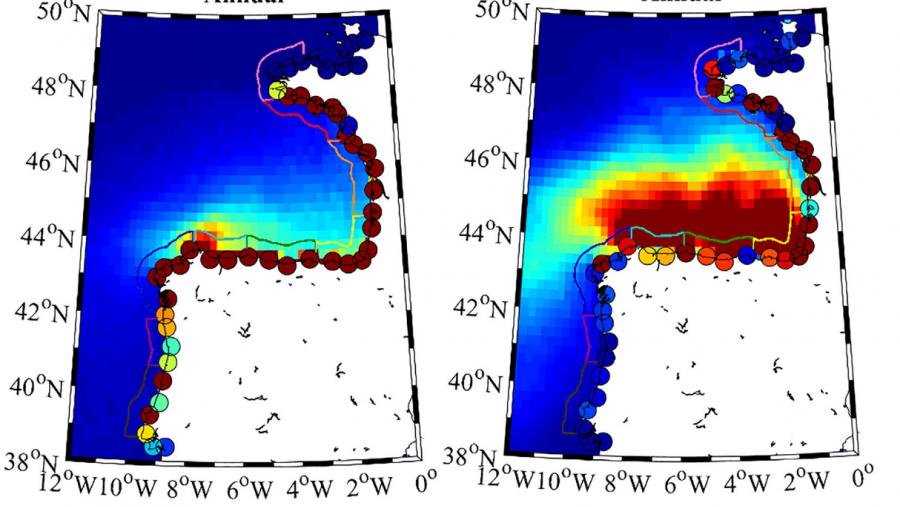 O golfo de Bizkaia é unha zona de atrapamento para os plásticos que chegan a el