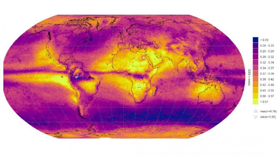 Distribución espacial da dimensión fractal das rachas secas, relacionada co expoñente baseado en Conxuntos de Cantor. Figura extraída do artigo