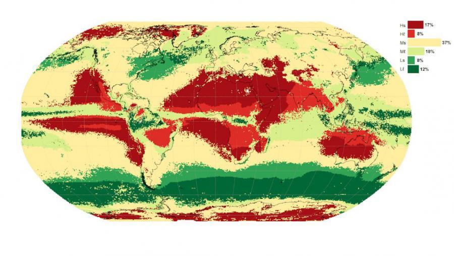 Clasificación climática das secas en todo o mundo. Figura extraída do artigo